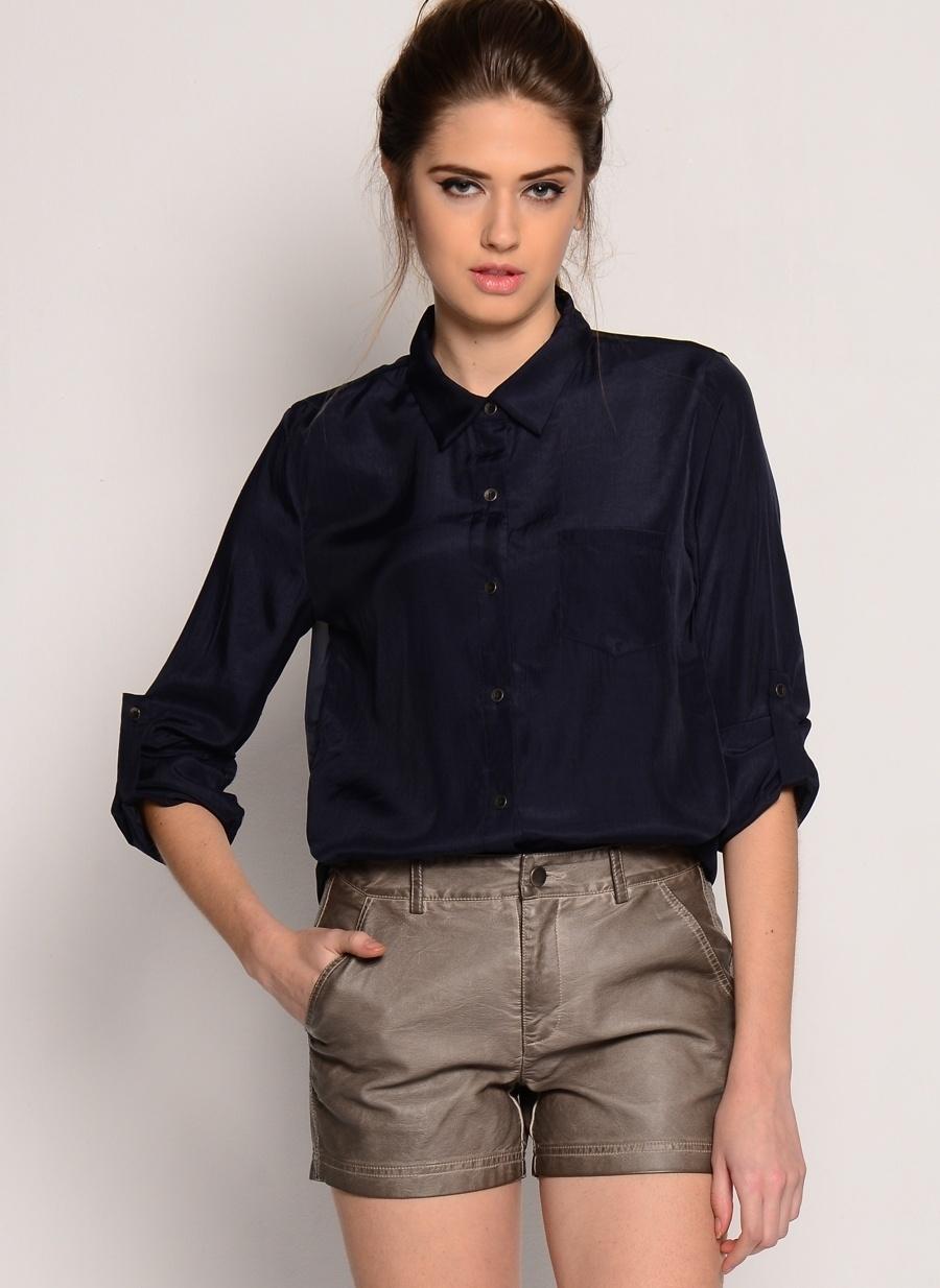M-L Koyu Lacivert Goldie Bluz Kadın Giyim Gömlek