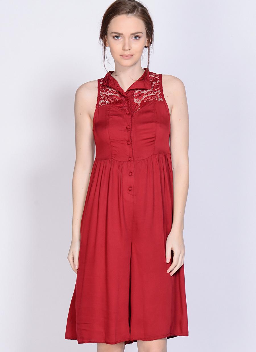 XS Koyu Kırmızı Somedays Lovin Tulum Kadın Giyim