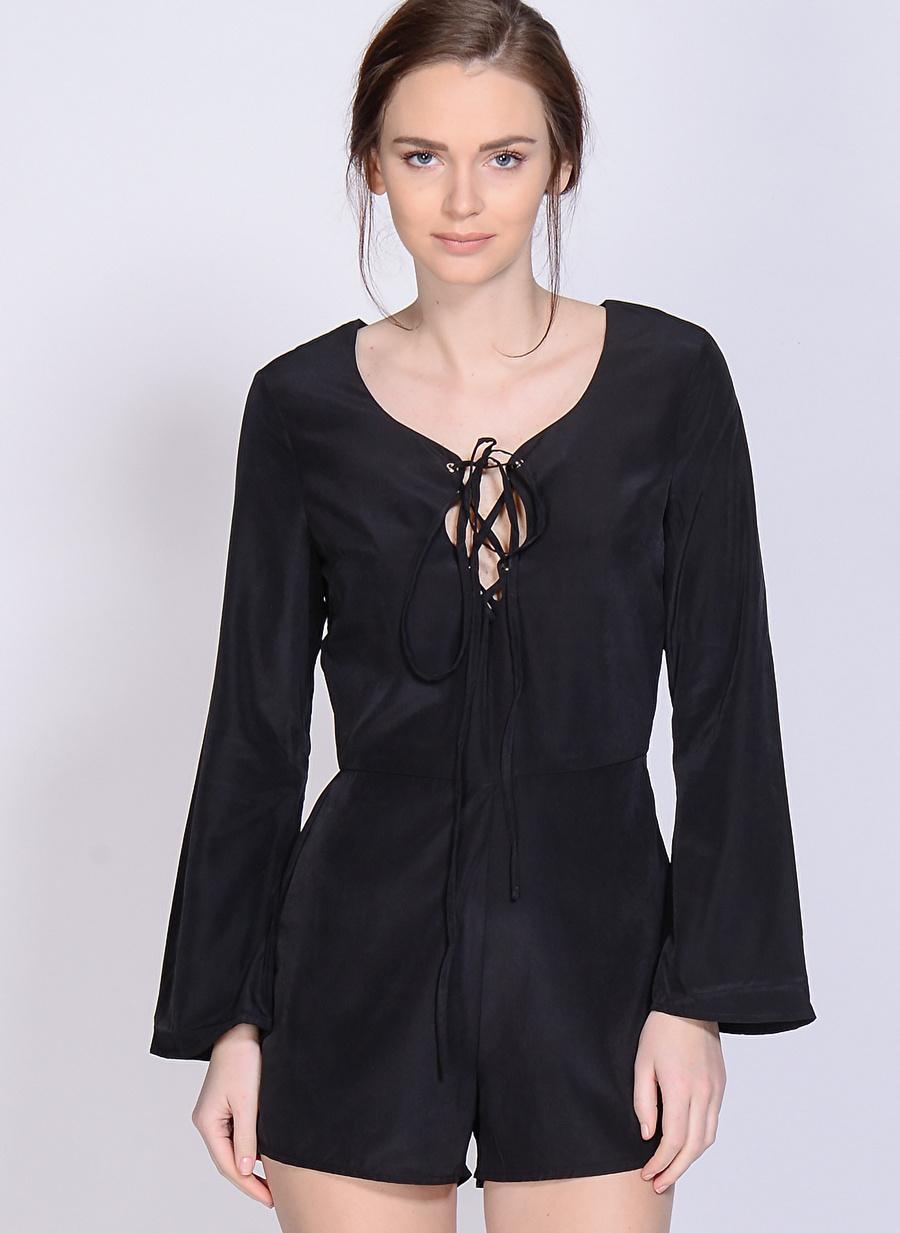 40 Siyah Neon Rose Tulum Kadın Giyim