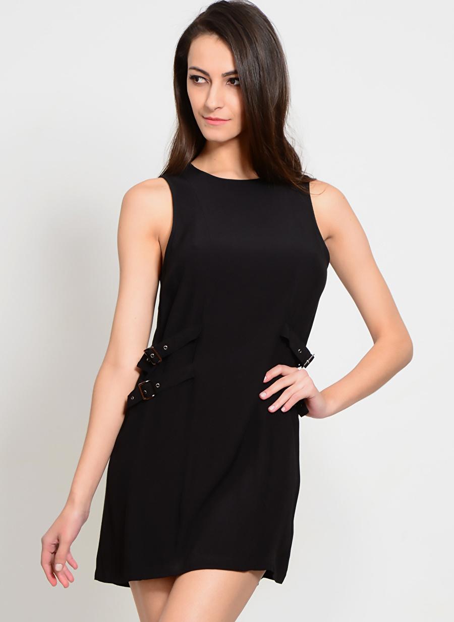 42 Siyah Neon Rose Elbise Kadın Giyim