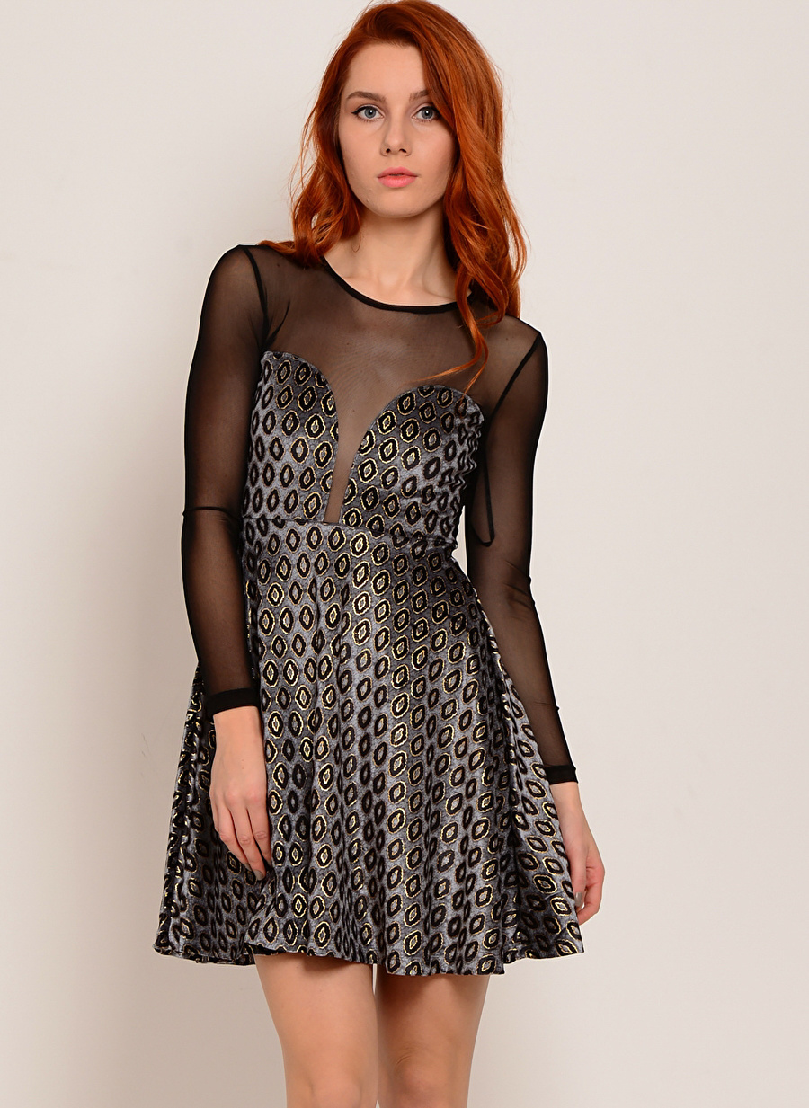 S Gri Motel Rocks Elbise Kadın Giyim