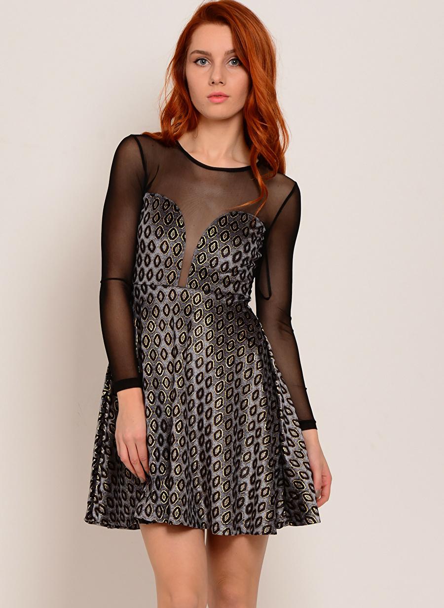 M Gri Motel Rocks Elbise Kadın Giyim