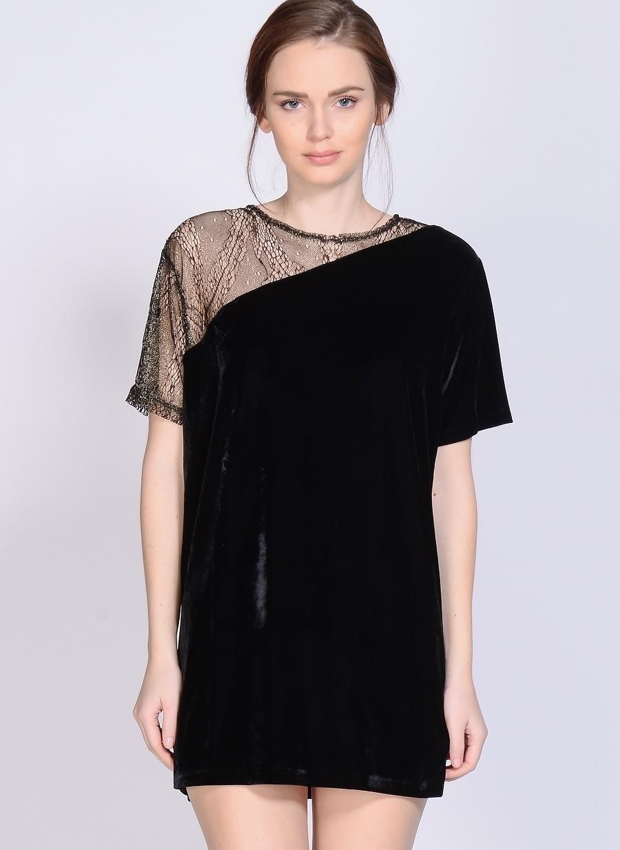 L Koyu Siyah Motel Rocks Elbise Kadın Giyim