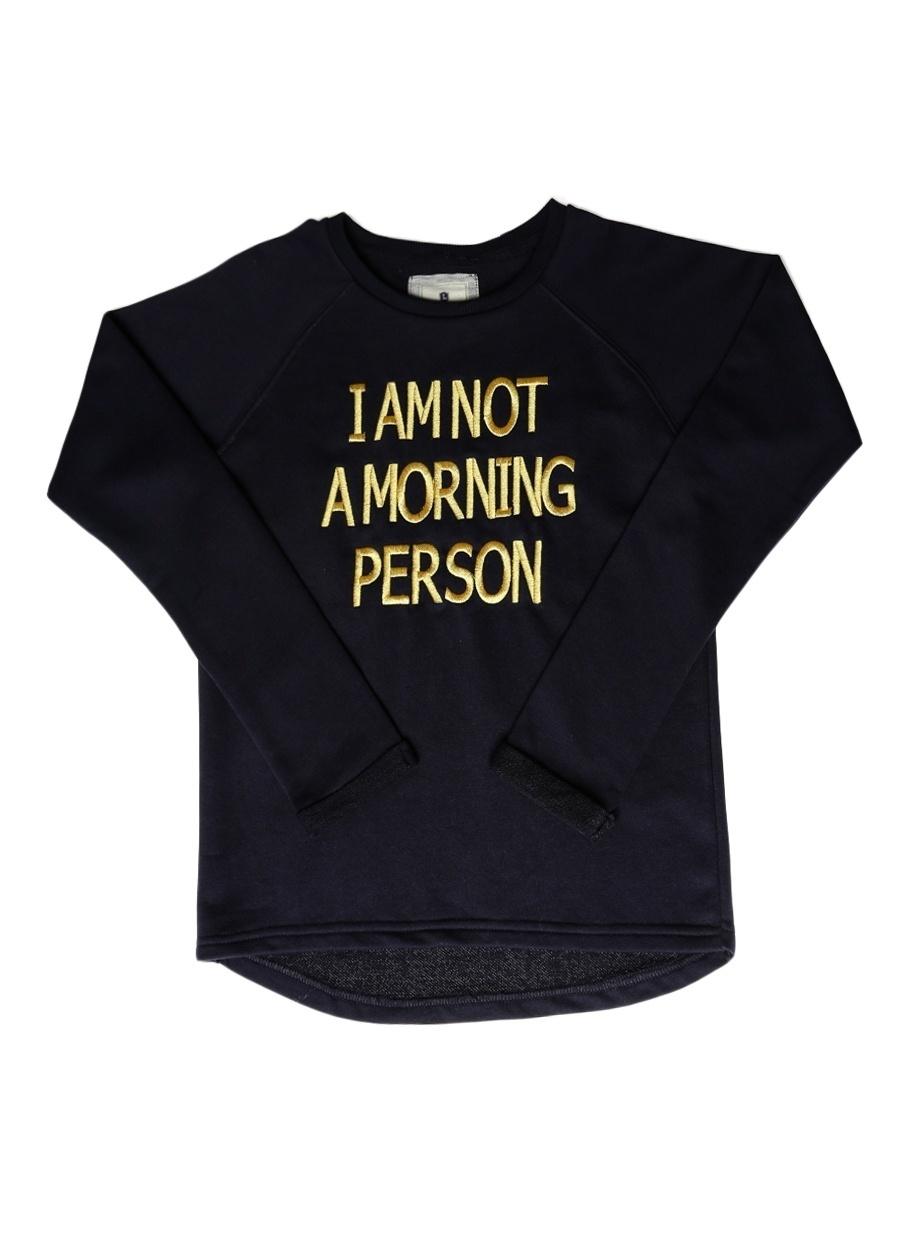 10 Yaş Kadın Koyu Lacivert Limon Sweatshırt Çocuk Giyim Sweatshirt