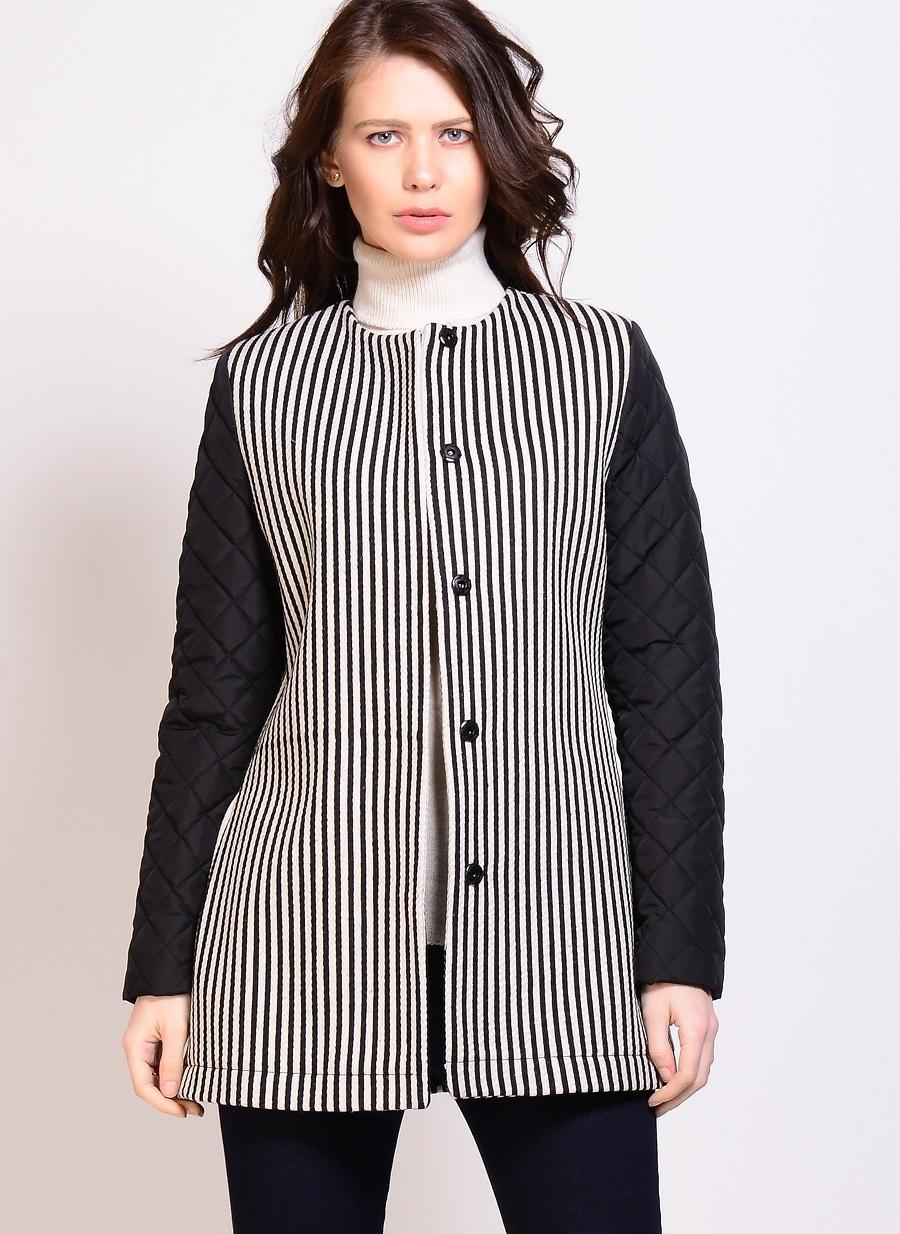 42 Siyah - Beyaz Limon Mont Kadın Dış Giyim
