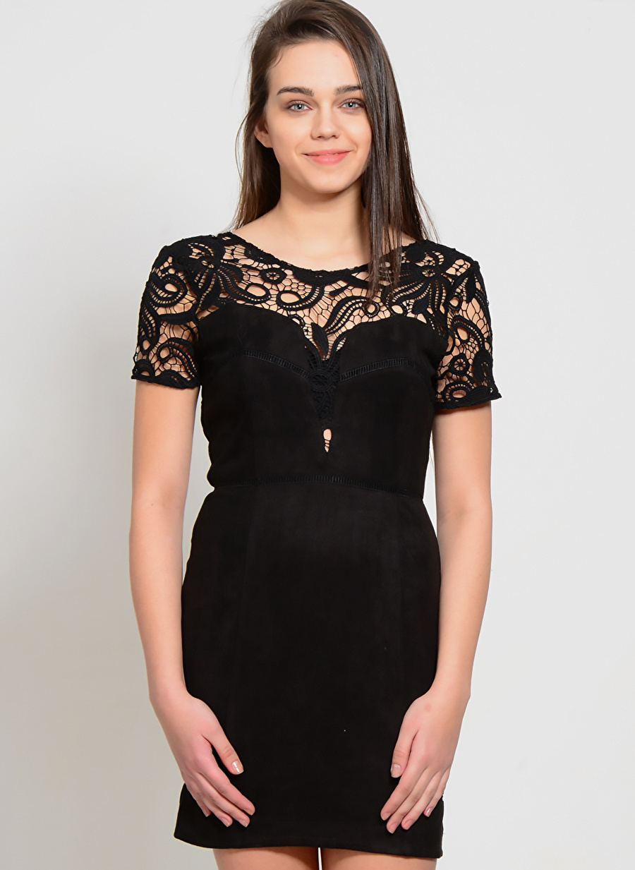 XS Siyah J.O.A. Elbise Kadın Giyim
