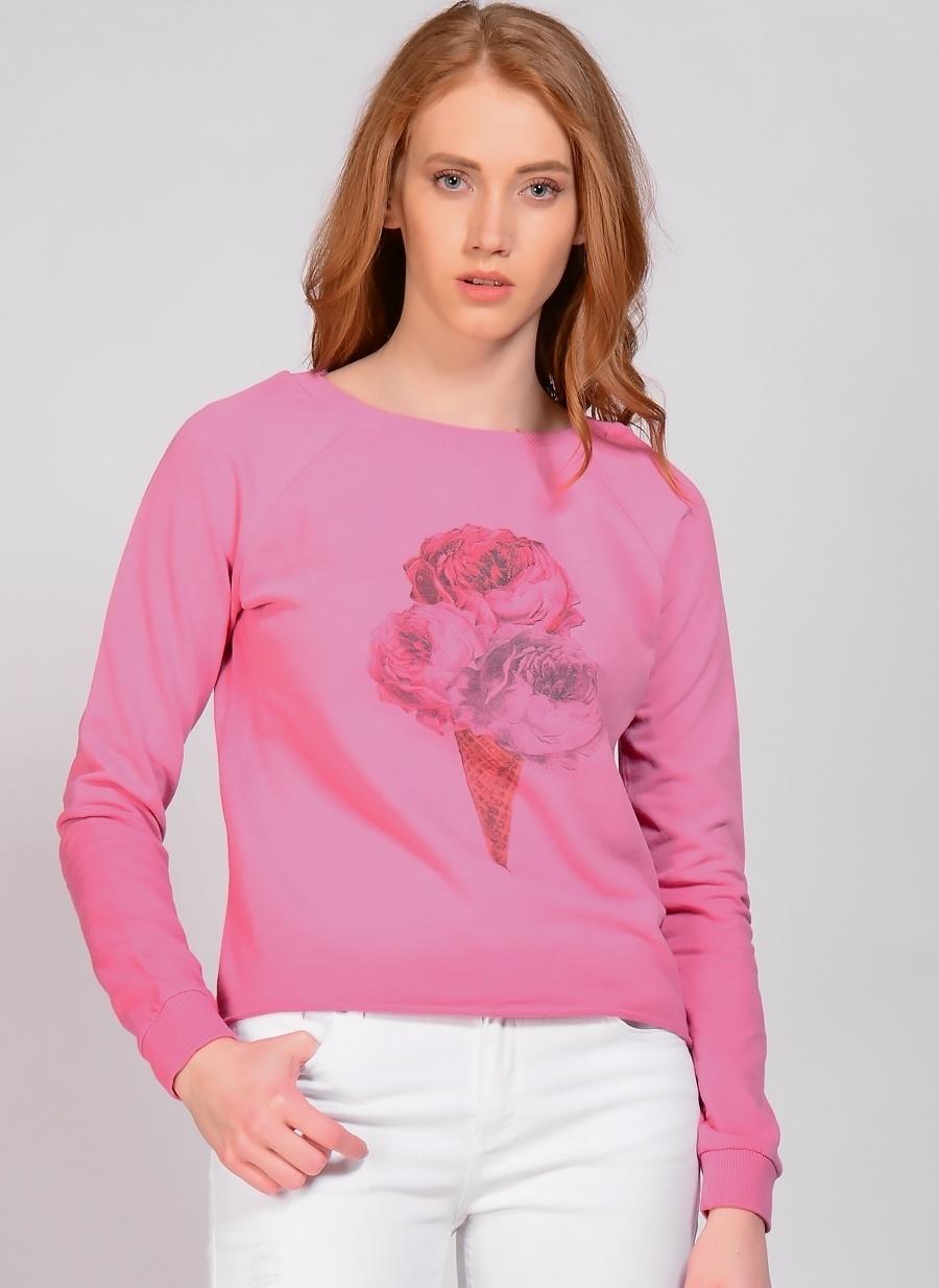 M Pembe T-Box Sweatshırt Kadın Spor Giyim Sweatshirt