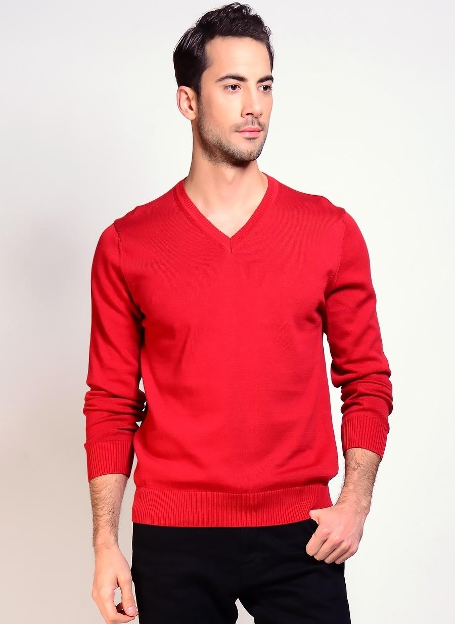 2XL Kırmızı Limon Kazak Erkek Giyim Hırka