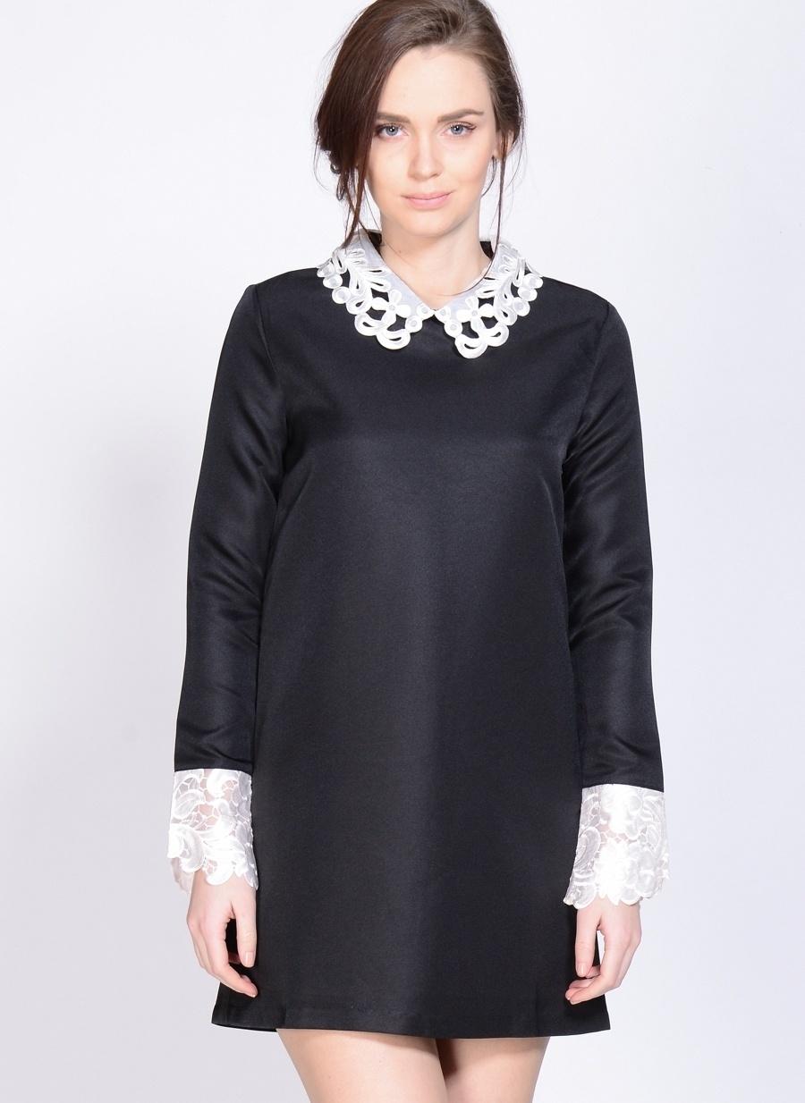 S Siyah - Beyaz Endless Rose Elbise Kadın Giyim