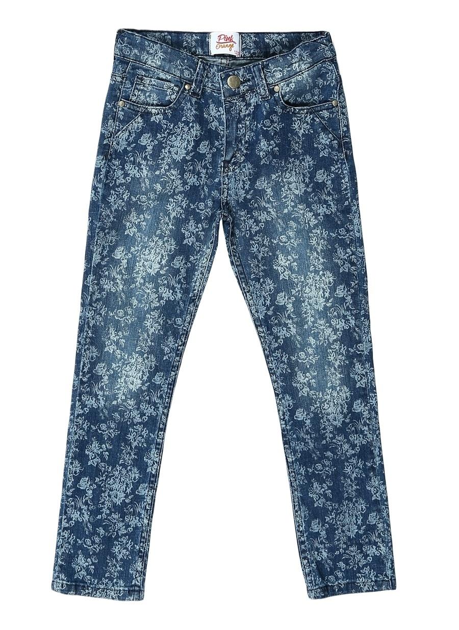 12 Yaş Kadın Mavi - Turuncu Pinkamp;Orange Pink&Orange İndigo Pantolon Çocuk Giyim Tayt