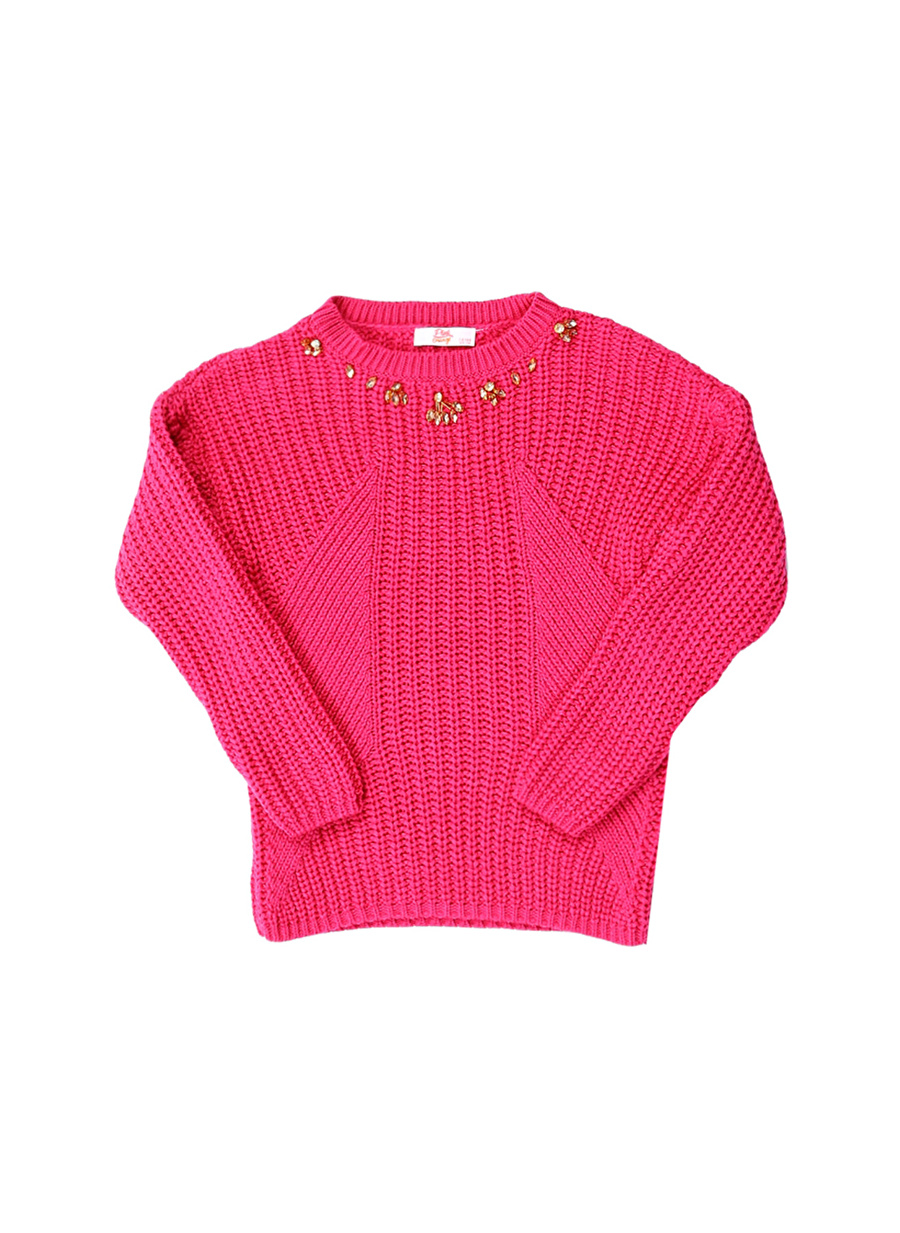 3 Yaş Kadın Fuşya Pinkamp;Orange Pink&Orange Kazak Çocuk Giyim Hırka
