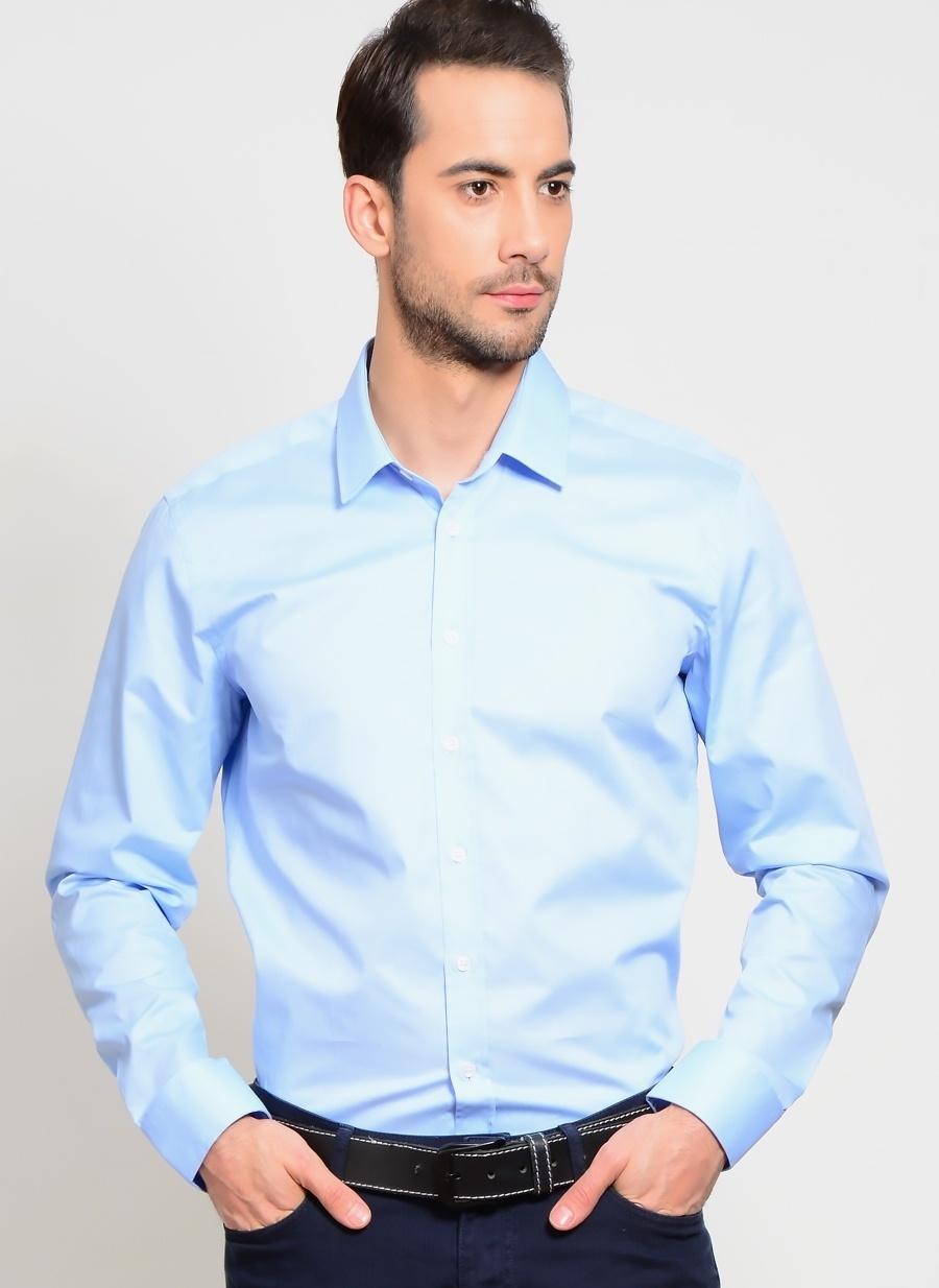 44 Açık Mavi Network Gömlek Erkek Giyim