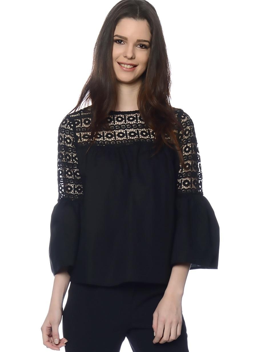 S Siyah Endless Rose Bluz Kadın Giyim Gömlek