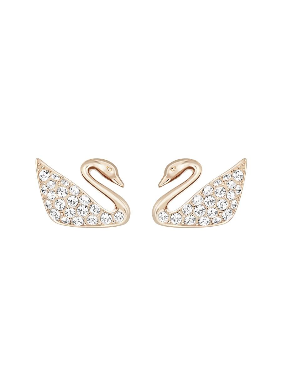 Standart Renksiz Swarovski 5144289 Swan Mini Beyaz Rose Altın Kaplama Küpe Kadın Aksesuar Takı