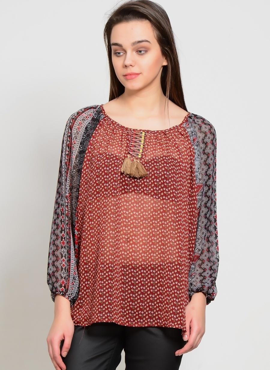 1 Şarap Cherry Paris Bordo Bluz Kadın Giyim Gömlek