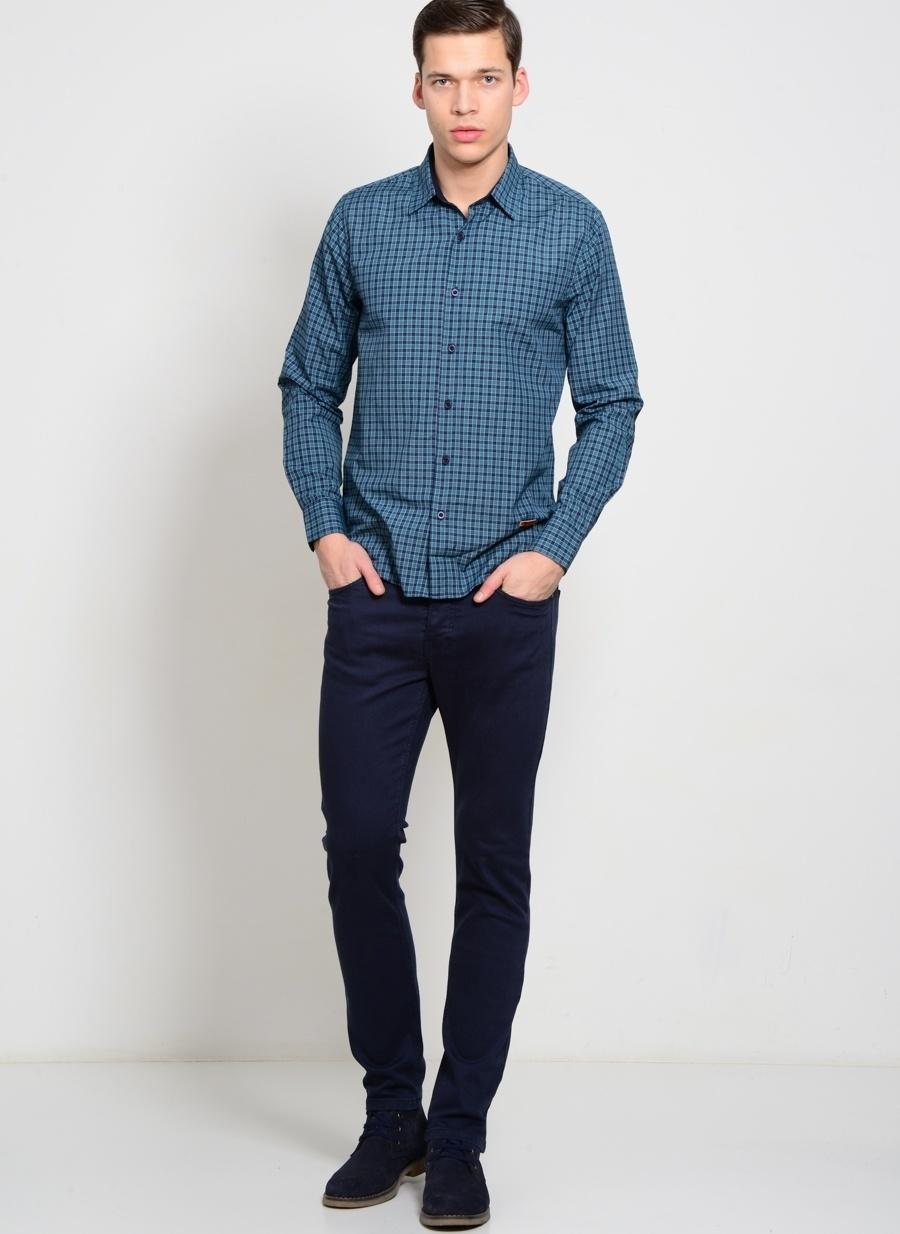 38-32 Koyu Lacivert Loft Klasik Pantolon Erkek Giyim