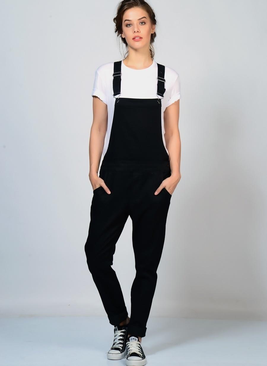 M Siyah Adpt Tulum Kadın Giyim
