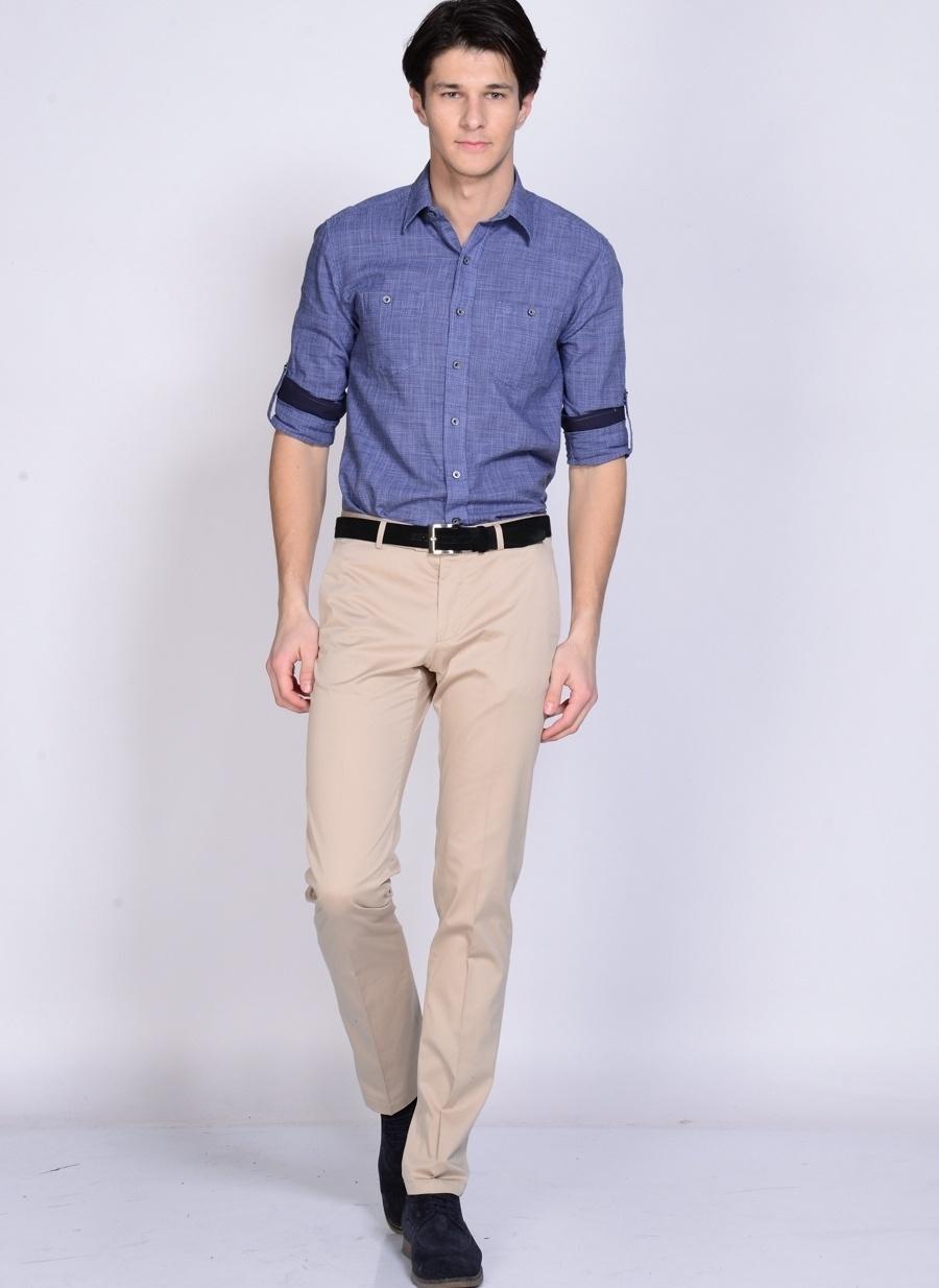 52 Bej Kip Klasik Pantolon Erkek Giyim