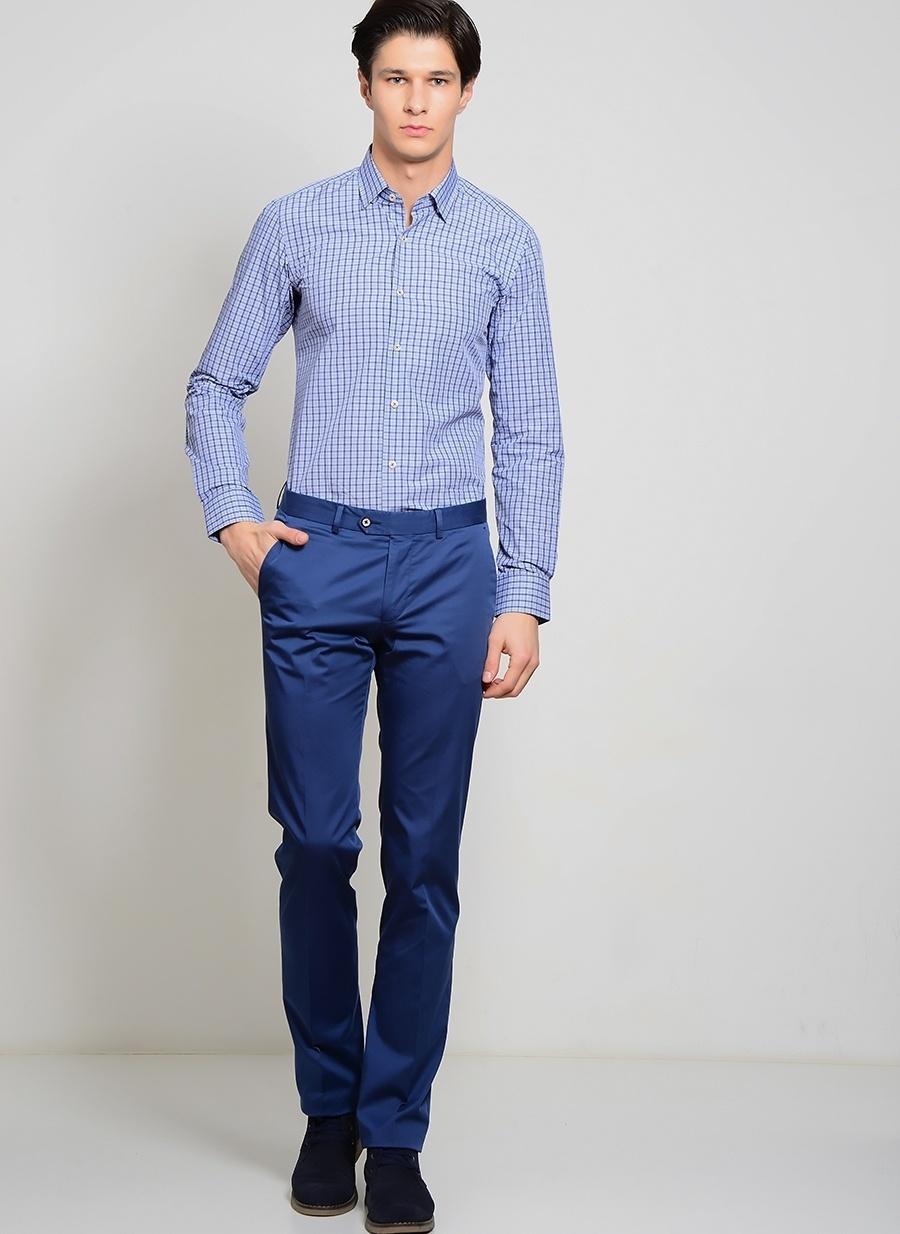 48 Neon Lacivert Kip Klasik Pantolon Erkek Giyim