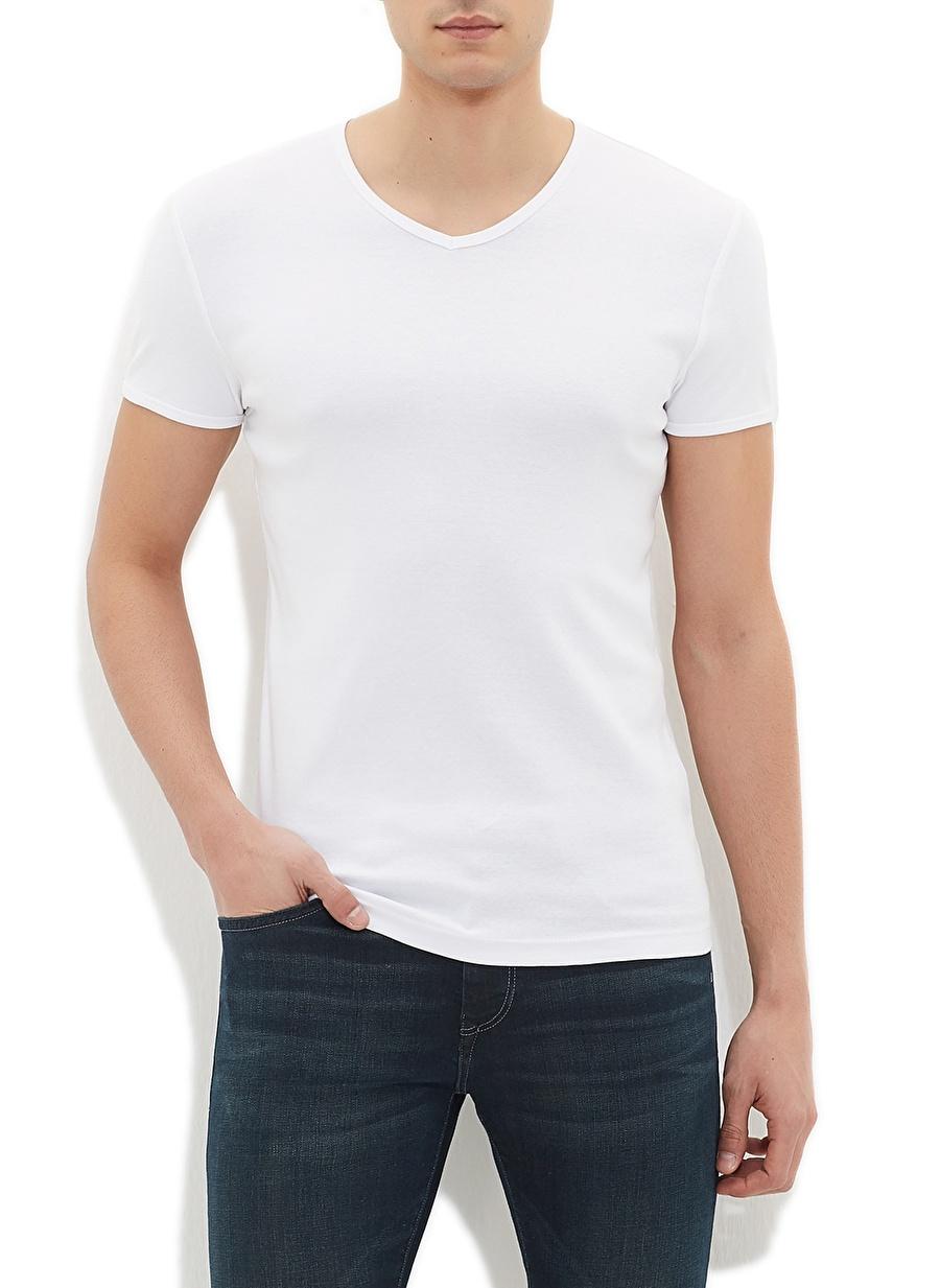 M Beyaz Mavi V Yaka Basic T-Shirt Spor Erkek Giyim T-shirt