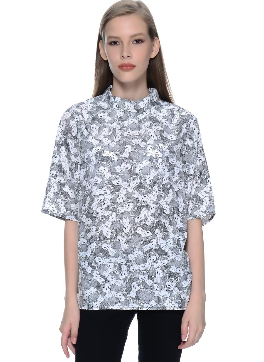 40 Siyah Neon Rose Bluz Kadın Giyim Gömlek