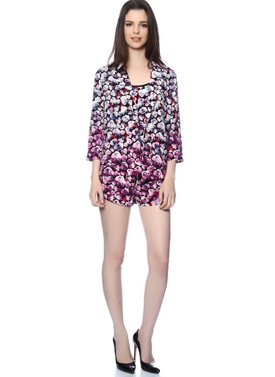 42 Çok Renkli Neon Rose Ceket Kadın Giyim Yelek