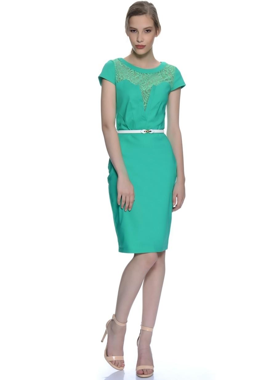 38 Yeşil Paper Dolls Dantel Yaka Elbise Kadın Giyim