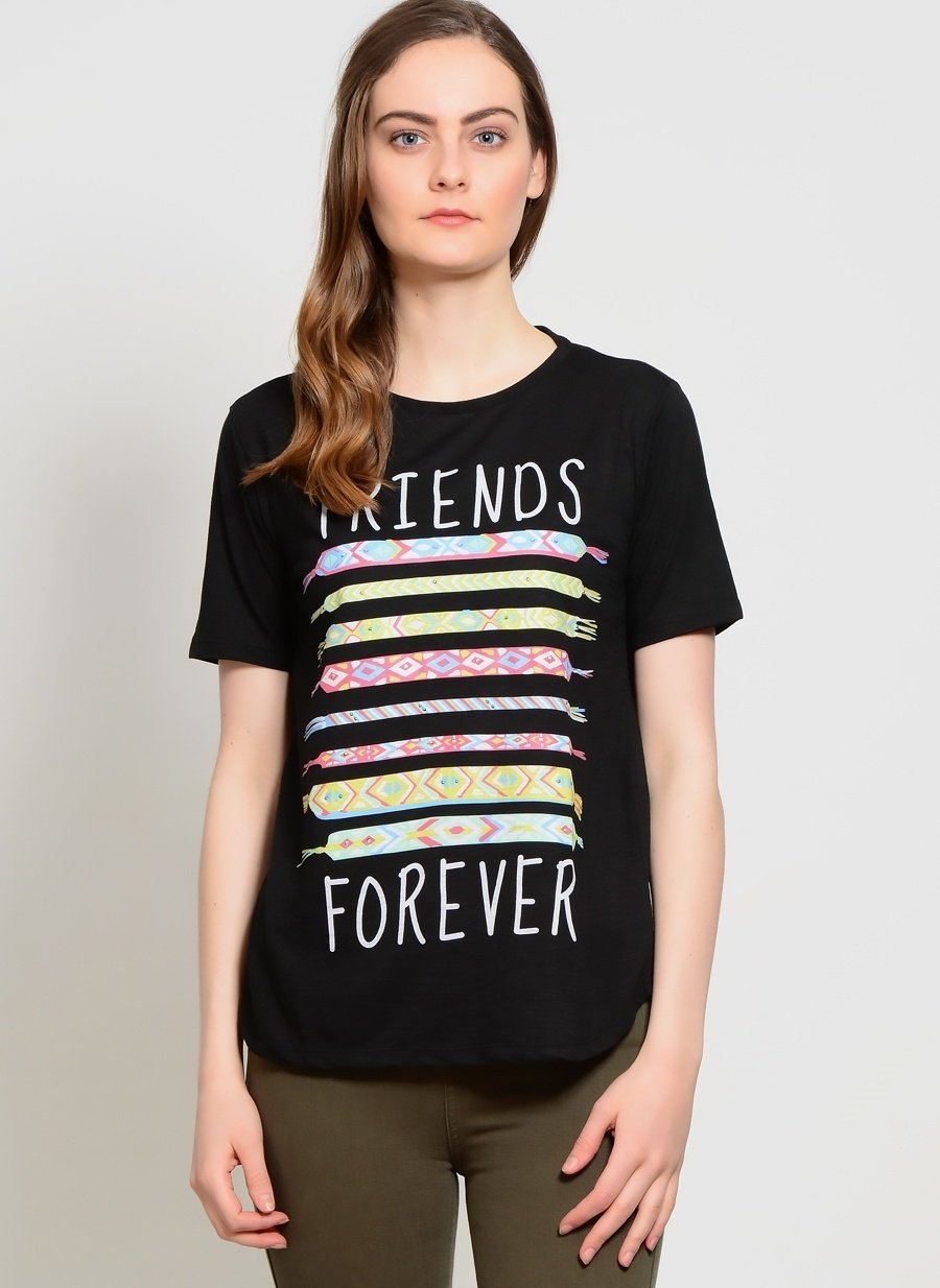 XS Siyah Ole T-Shirt Kadın Giyim T-shirt Atlet