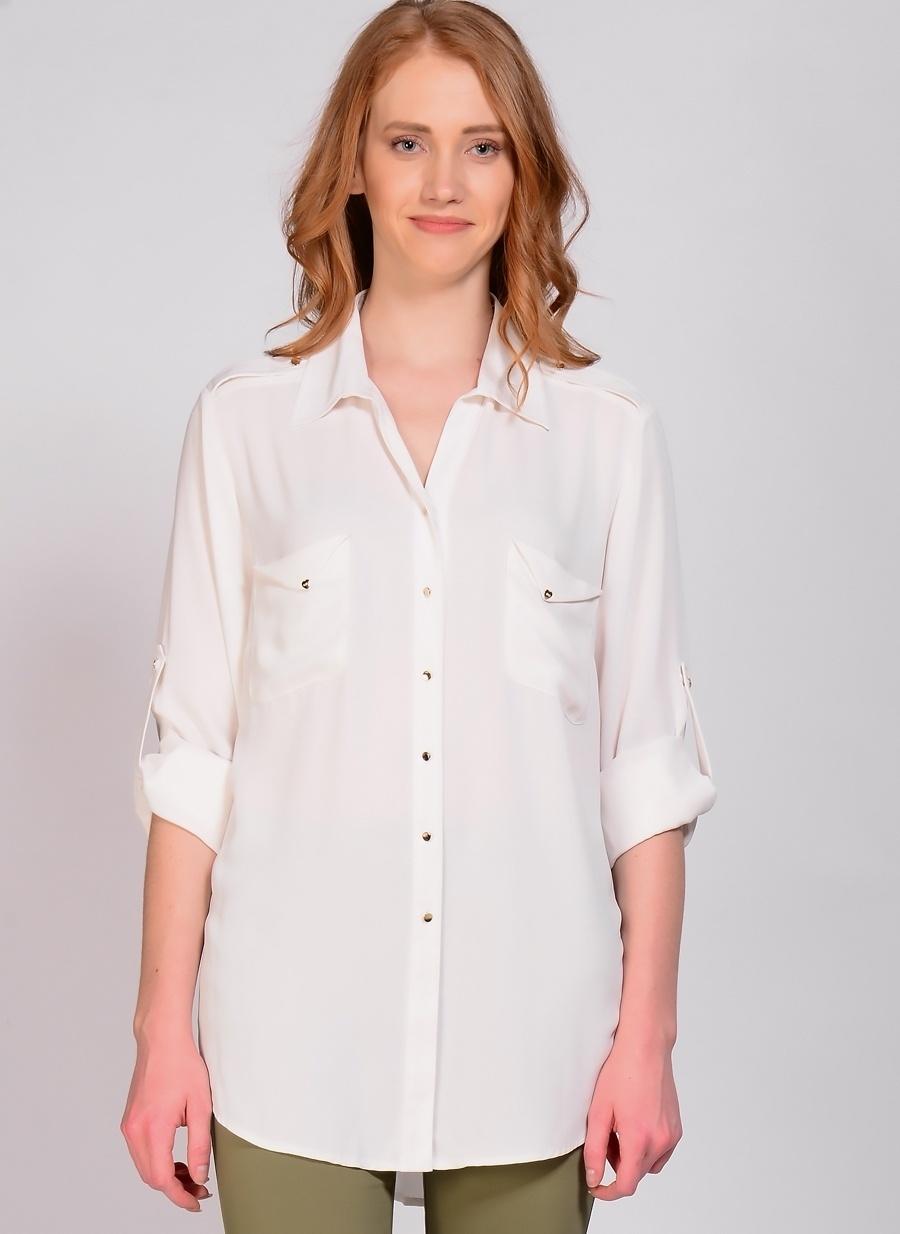 2 Koyu Ekru Ekol Bb Bluz Kadın Giyim Gömlek