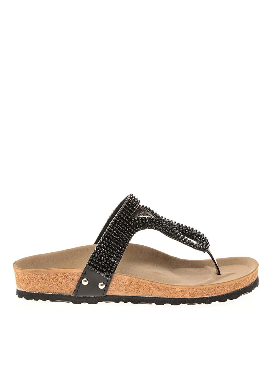 37 Siyah Bambi Ayakkabı Terlik Çanta Kadın Sandalet