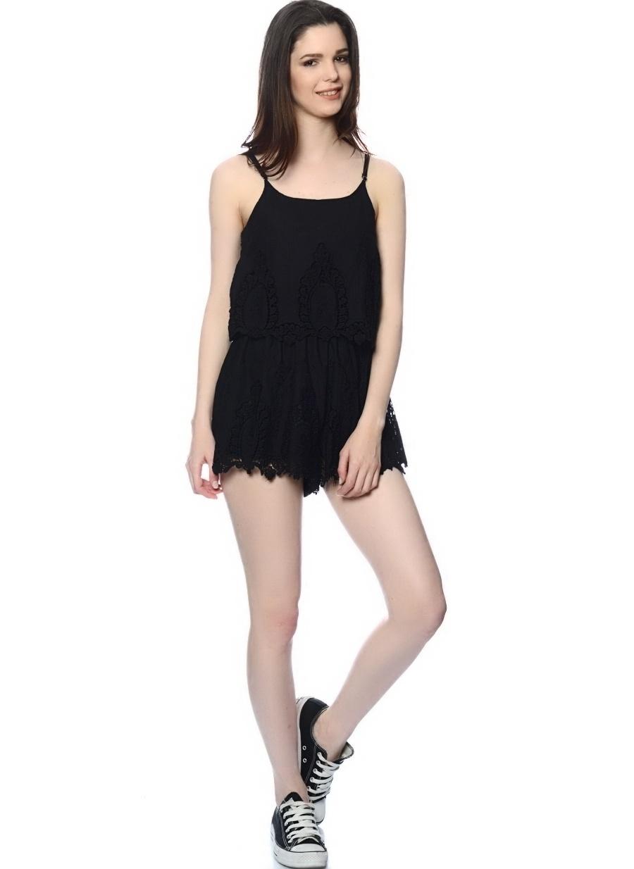 S Siyah Lovecat Tulum Kadın Giyim