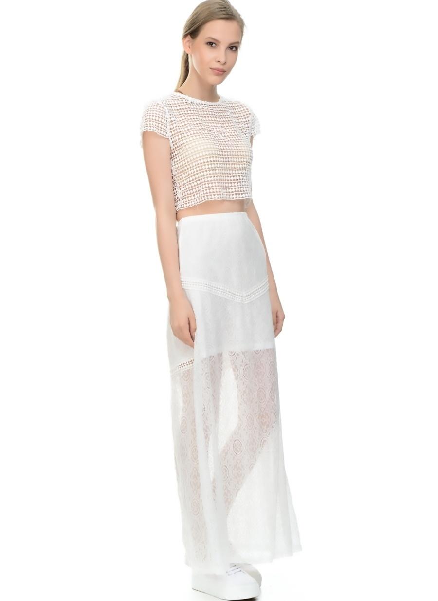 L Beyaz Lovecat Dantelli Elbise Kadın Giyim