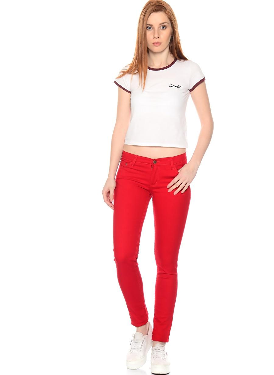 38-32 Kırmızı Compania Fantastica Denim Pantolon Kadın Giyim Jean