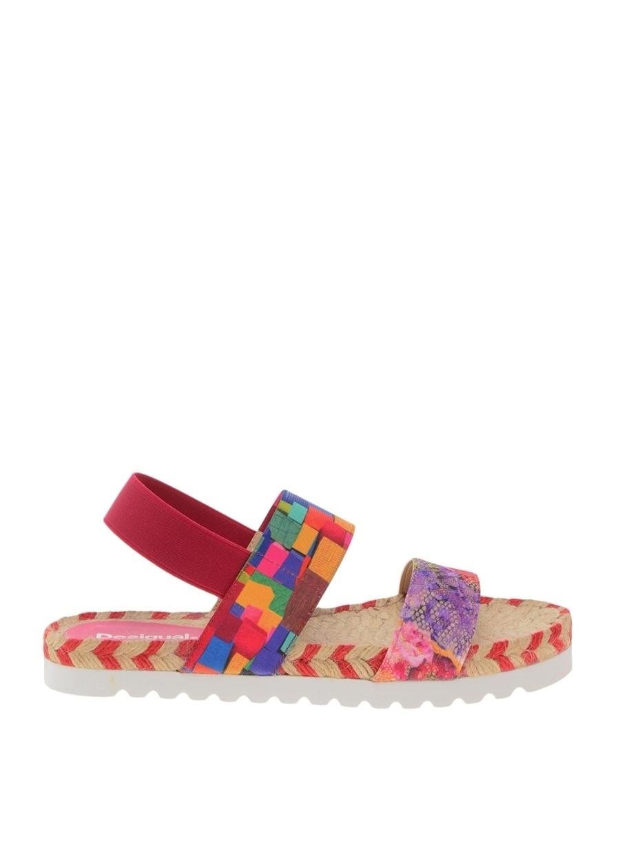 36 Çok Renkli Desigual Desenli Sandalet Kadın Terlik