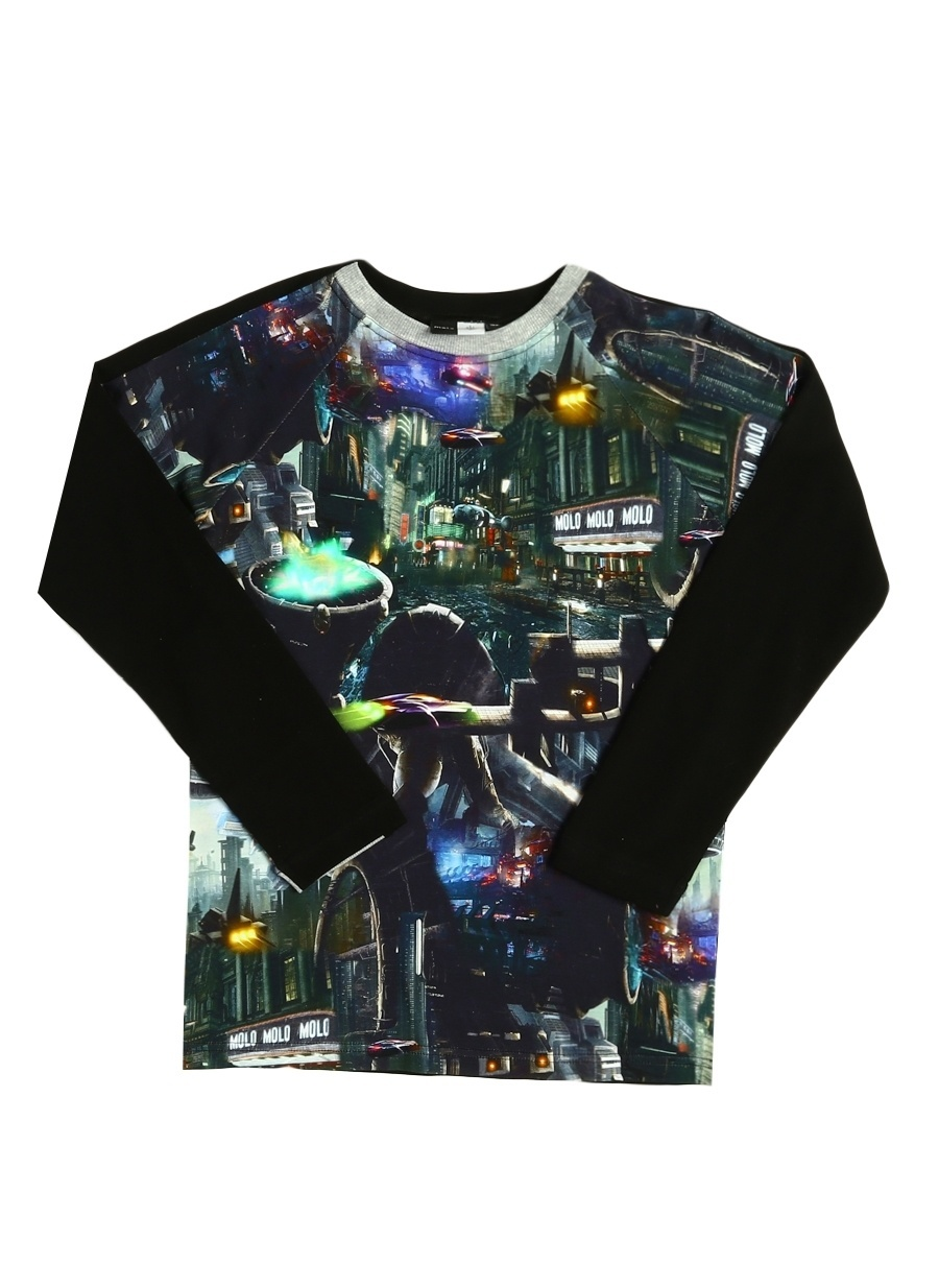 128 cm Erkek Siyah Molo T-Shirt Çocuk Giyim T-shirt
