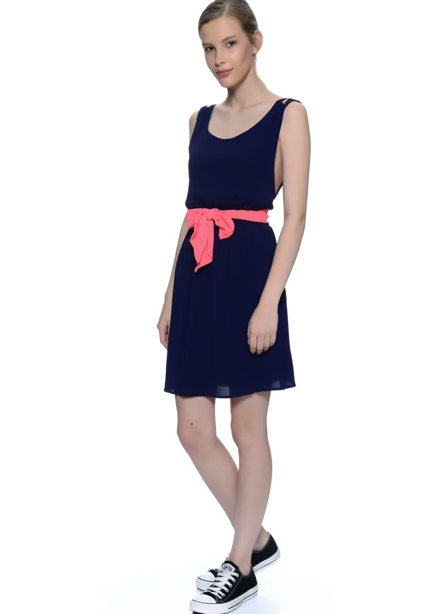 1 Koyu Lacivert Freeminds Sırt Dekolteli Elbise Kadın Giyim