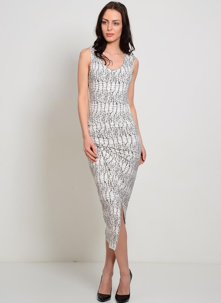 38 Krem Liquorish Desenli Yırtmaç Detaylı Elbise Kadın Giyim