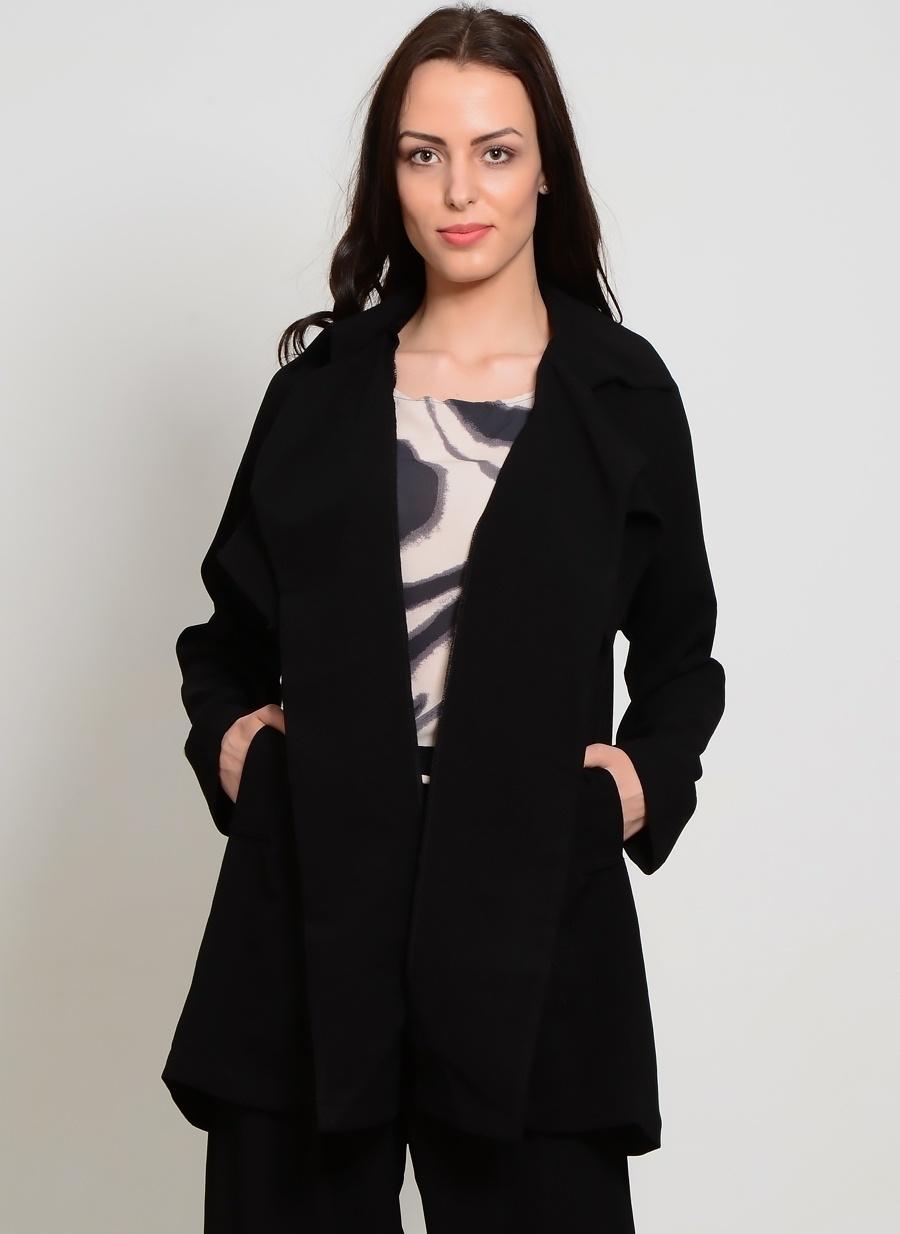 L Siyah Liquorish Ceket Kadın Giyim Yelek