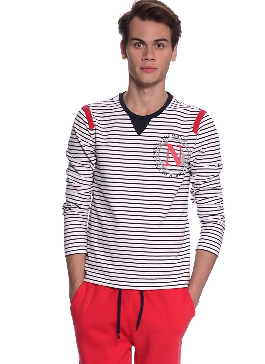 XL Beyaz North Of Navy Sweatshırt Erkek Spor Giyim Sweatshirt
