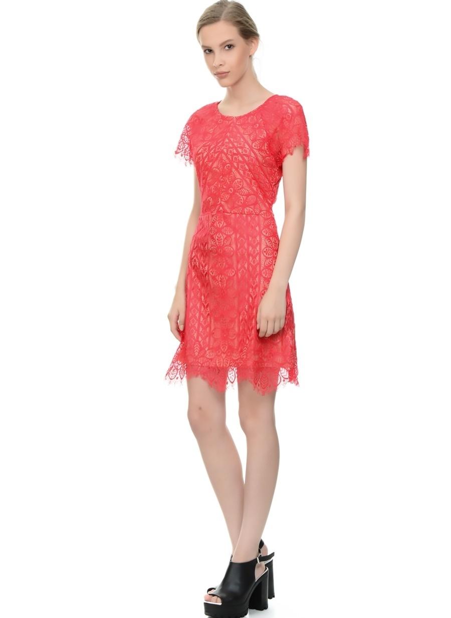 S Koyu Pembe Danity Dantel Detaylı Elbise Kadın Giyim