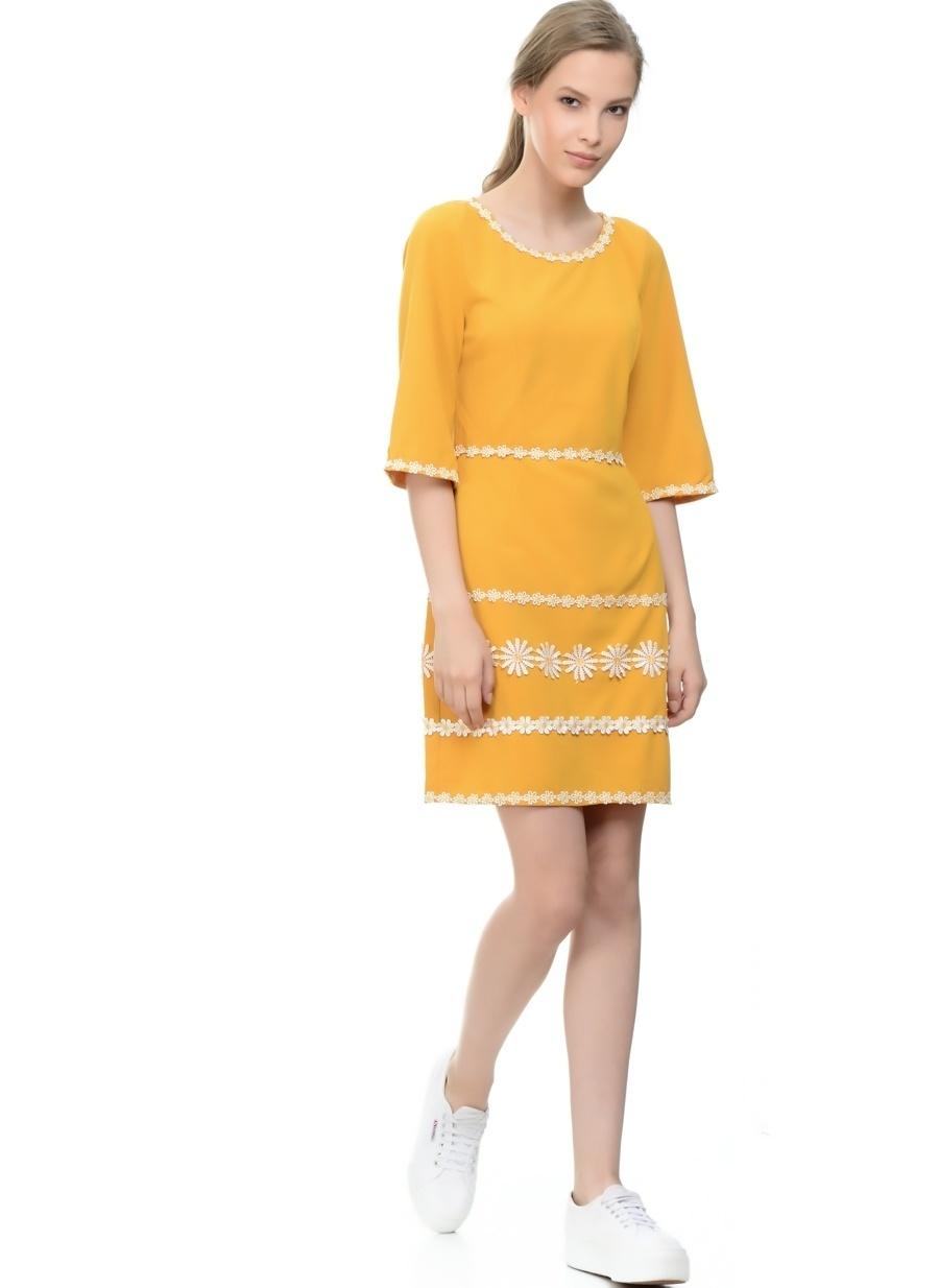 L Sarı Danity Elbise Kadın Giyim