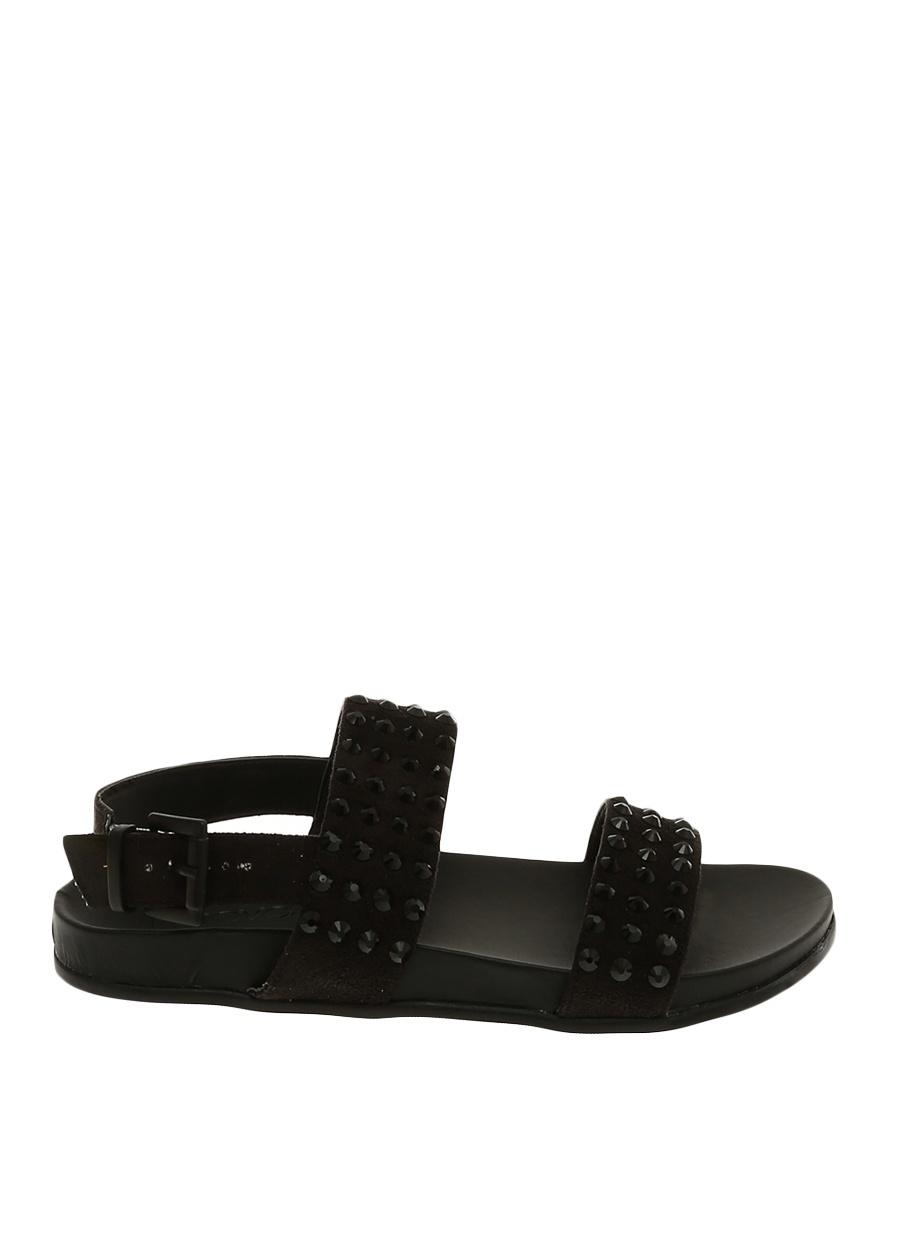 37 Siyah Inuovo Sandalet Ayakkabı Çanta Kadın Terlik