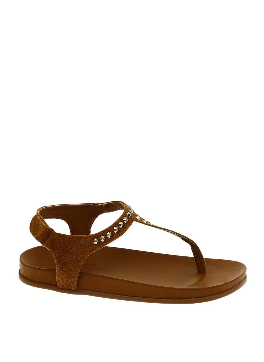 37 Taba Inuovo Parmak Arası Sandalet Ayakkabı Çanta Kadın Terlik
