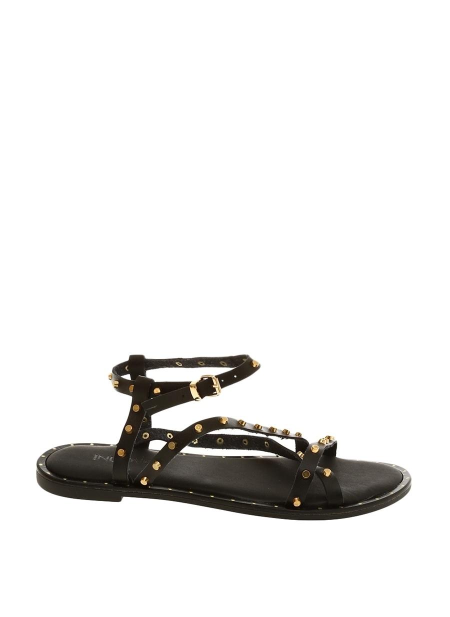 36 Siyah Inuovo Sandalet Ayakkabı Çanta Kadın Terlik