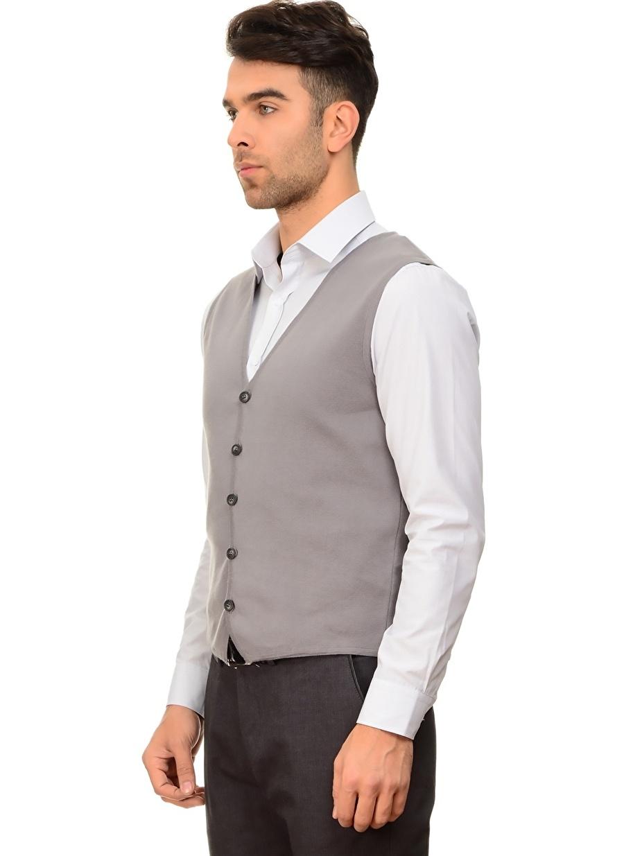 L Gri Cotton Bar Yelek Erkek Giyim Ceket