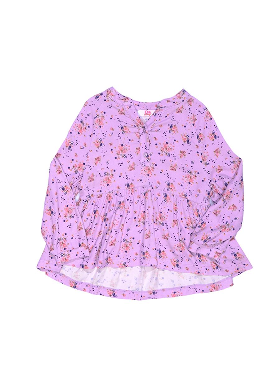 6 Yaş Kadın Lila Pinkamp;Orange Pink&Orange Çocuk Desenli Bluz Giyim