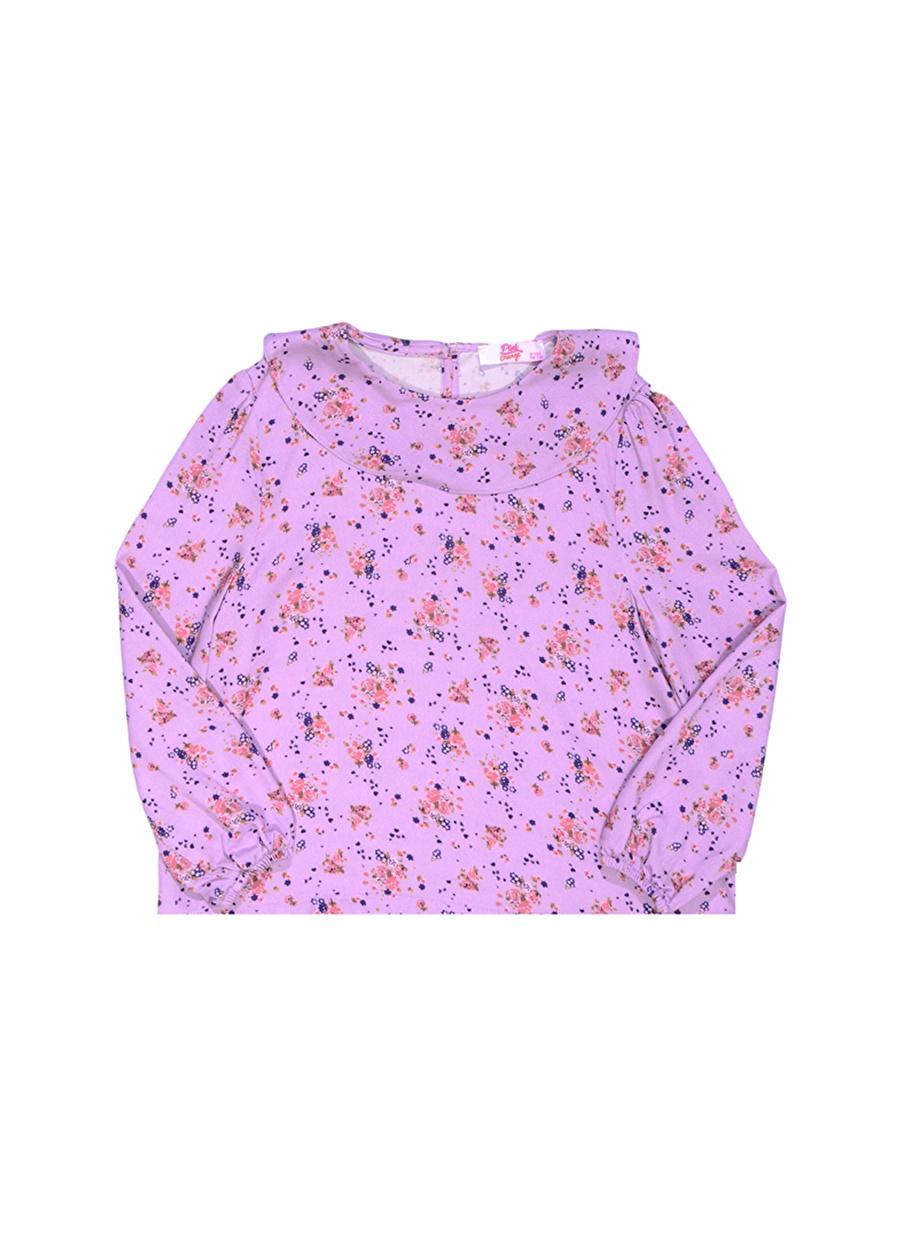 3 Yaş Kadın Lila Pinkamp;Orange Pink&Orange Çocuk Desenli Bluz Giyim