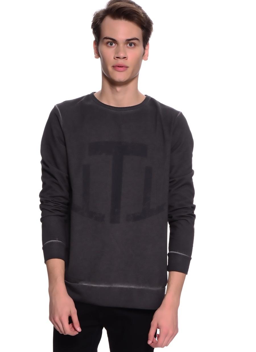M Antrasit T-Box Baskılı Sweatshirt Spor Erkek Giyim