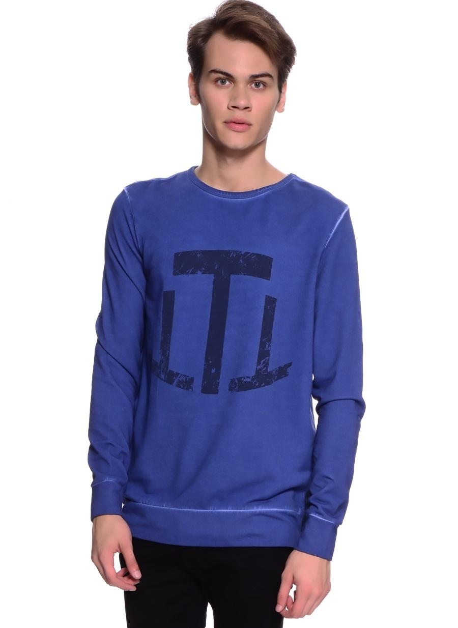 XS Neon Lacivert T-Box Baskılı Sweatshirt Spor Erkek Giyim