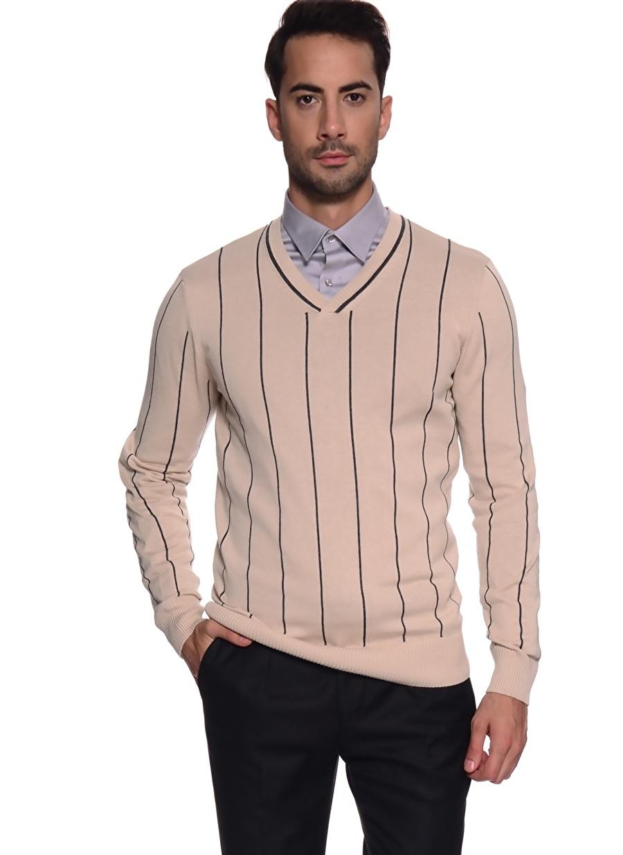 XL Bej Penford Çizgili Kazak Erkek Giyim Hırka